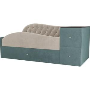 Детская кровать АртМебель Джуниор велюр бежевый/бирюза левый угол