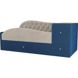 Детская кровать АртМебель Джуниор велюр бежевый/синий левый угол