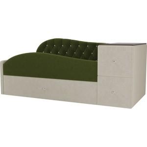 Детская кровать АртМебель Джуниор микровельвет зеленый/бежевый левый угол