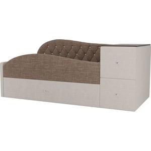 Детская кровать АртМебель Джуниор рогожка коричневый/бежевый левый угол