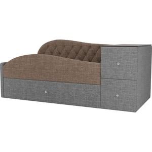Детская кровать АртМебель Джуниор рогожка коричневый/серый левый угол