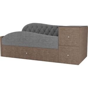 Детская кровать АртМебель Джуниор рогожка серый/коричневый левый угол
