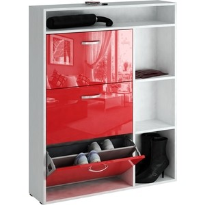 Обувница Мастер Милан-22 глянец (белый - красный) МСТ-ОДМ-22-БР-ГЛ