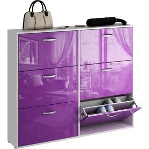 цена на Обувница Мастер Милан-30 глянец (белый - фиолетовый) МСТ-ОДМ-30-БФ-ГЛ