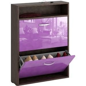 Обувница Мастер Милан-25 глянец узкая (венге - фиолетовый) МСТ-ОДМ-25-ВФ-ГЛ-УЗ