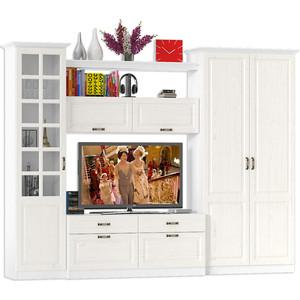Гостиная Моби Ливерпуль набор мебели 7 ясень ваниль/белый