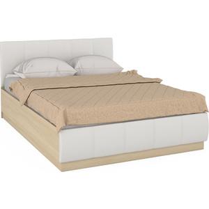 Кровать Моби Линда 303 140 дуб сонома/белая искусственная кожа 140х200 фото
