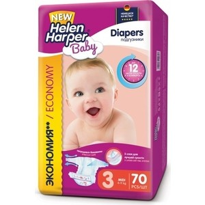 Подгузники Helen Harper Baby размер 3 Midi (4-9 кг) 70шт 5411416-029717