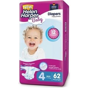 Подгузники Helen Harper Baby размер 4 Maxi (7-14 кг) 62 шт 5411416-029731 прокладки в бюстгальтер helen harper одноразовые 30 шт уп