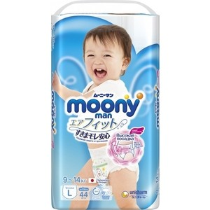 Трусики для мальчиков Moony MAN L (9-14 кг) 44 шт NEW 4903111-273379