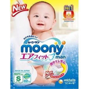Трусики универсальные Moony MAN S (4-8 кг) 62 шт 4903111-284368