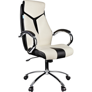 Кресло руководителя Helmi HL-E01 Inari экокожа черная/бежевая хром