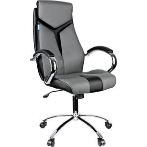 Кресло руководителя Helmi HL-E01 Inari экокожа черная/серая хром