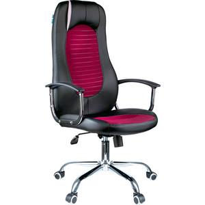 Кресло руководителя Helmi HL-E93 Fitness экокожа черная/ткань S бордо хром механизм качания Люкс