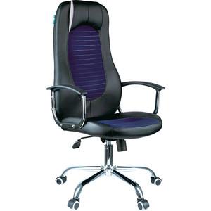 Кресло руководителя Helmi HL-E93 Fitness экокожа черная/ткань S синяя хром механизм качания Люкс