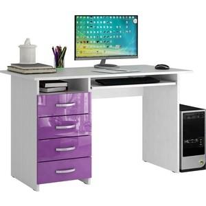 Стол письменный Мастер Милан-3 глянец (белый-фиолетовый) МСТ-СДМ-03-БФ-ГЛ