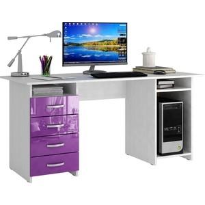 цена Стол письменный Мастер Милан-6 глянец (белый-фиолетовый) МСТ-СДМ-06-БФ-ГЛ онлайн в 2017 году