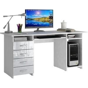 Стол письменный Мастер Милан-6П глянец (белый-белый) МСТ-СДМ-6П-ББ-ГЛ