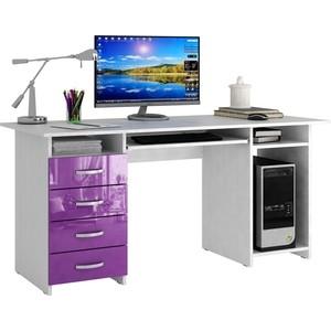 Стол письменный Мастер Милан-6П глянец (белый-фиолетовый) МСТ-СДМ-6П-БФ-ГЛ