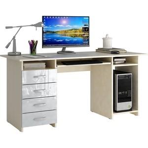 Стол письменный Мастер Милан-6П глянец (дуб молочный-белый) МСТ-СДМ-6П-МБ-ГЛ