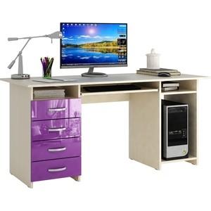 Стол письменный Мастер Милан-6П глянец (дуб молочный-фиолетовый) МСТ-СДМ-6П-МФ-ГЛ