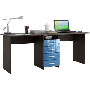 Стол письменный Мастер Тандем-2 глянец (венге-синий) МСТ-СДТ-02-ВИ-ГЛ