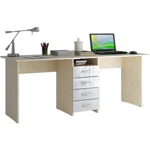 Стол письменный Мастер Тандем-2 глянец (дуб молочный-белый) МСТ-СДТ-02-МБ-ГЛ