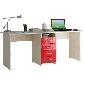 Стол письменный Мастер Тандем-2 глянец (дуб молочный-красный) МСТ-СДТ-02-МР-ГЛ