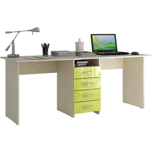 Стол письменный Мастер Тандем-2 глянец (дуб молочный-лайм) МСТ-СДТ-02-МЛ-ГЛ