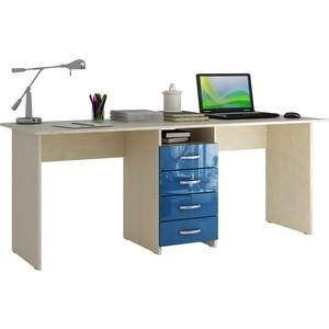 Стол письменный Мастер Тандем-2 глянец (дуб молочный-синий) МСТ-СДТ-02-МИ-ГЛ цена