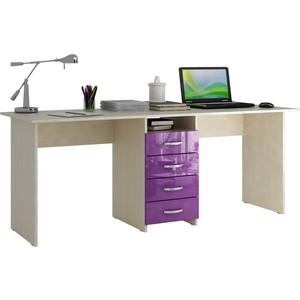 Стол письменный Мастер Тандем-2 глянец (дуб молочный-фиолетовый) МСТ-СДТ-02-МФ-ГЛ