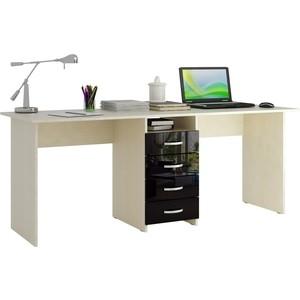 Стол письменный Мастер Тандем-2 глянец (дуб молочный-чёрный) МСТ-СДТ-02-МЧ-ГЛ