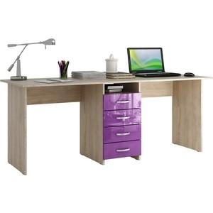 Стол письменный Мастер Тандем-2 глянец (дуб сонома-фиолетовый) МСТ-СДТ-02-СФ-ГЛ