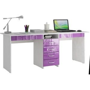 цена на Стол письменный Мастер Тандем-2Я глянец (белый-фиолетовый) МСТ-СДТ-2Я-БФ-ГЛ