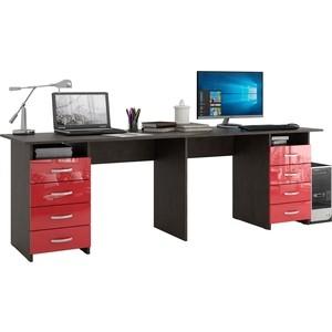 Стол письменный Мастер Тандем-3 глянец (венге-красный) МСТ-СДТ-03-ВР-ГЛ