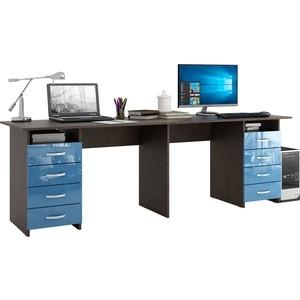 Стол письменный Мастер Тандем-3 глянец (венге-синий) МСТ-СДТ-03-ВИ-ГЛ