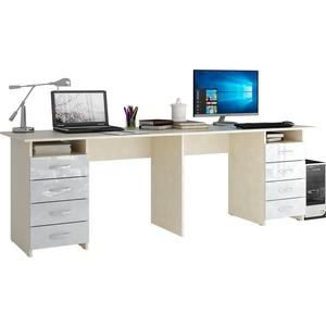 Стол письменный Мастер Тандем-3 глянец (дуб молочный-белый) МСТ-СДТ-03-МБ-ГЛ