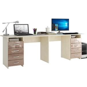 Стол письменный Мастер Тандем-3 глянец (дуб молочный-капучино) МСТ-СДТ-03-МК-ГЛ цены онлайн