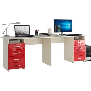 Стол письменный Мастер Тандем-3 глянец (дуб молочный-красный) МСТ-СДТ-03-МР-ГЛ