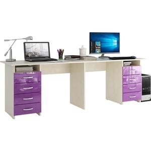 Стол письменный Мастер Тандем-3 глянец (дуб молочный-фиолетовый) МСТ-СДТ-03-МФ-ГЛ