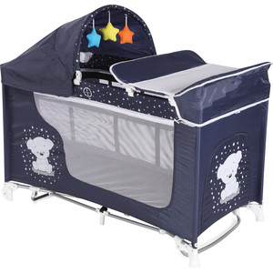 Манеж Lorelli Moonlight 2 Rocker Синий Dark Blue Teddy 1832 цена