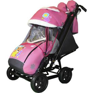 Санки коляска GALAXY SNOW City-2 Мишка со звездой на розовом на больших колёсах Ева+сумка+варежки