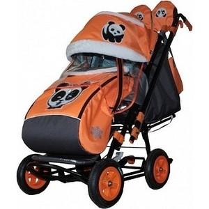 Санки коляска GALAXY SNOW City-2 Панда на оранжевом на больших колёсах Ева+сумка+варежки снегомобиль snow galaxy black auto розовые рейки на больших мягких колесах