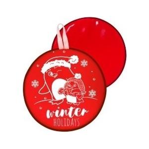 Ледянка RT МТ12317 круглая ПИНГВИНЫ цвет красный, 46,5см gangxun красный цвет