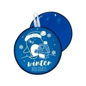 Ледянка RT МТ13317 круглая ПИНГВИНЫ цвет голубой, 46,5см