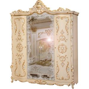 Шкаф 4-х дверный Мэри Людовик СЛ-01 слоновая кость кракелюр, ручная роспись цветными патинами и золотом