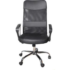 Кресло офисное NORDEN Директ черная экокожа + черная сетка кресло офисное norden шелби серый пластик черная экокожа оранжевая строчка