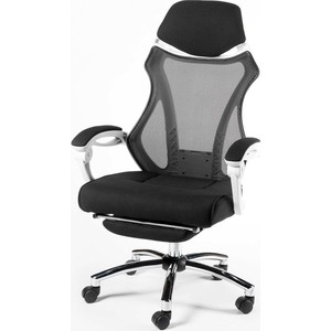 Кресло офисное NORDEN 007 black/ белый пластик/черная ткань/черная сетка фото