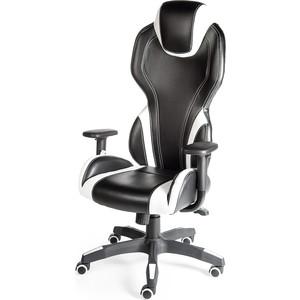 Кресло офисное NORDEN F1 черный пластик/черно-белая экокожа