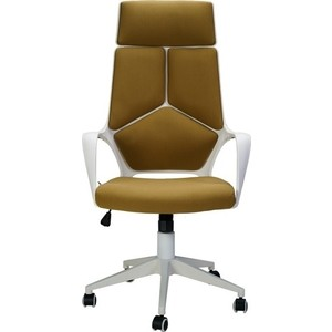 Кресло офисное NORDEN IQ white plastic-mustard белый пластик/горчичная ткань